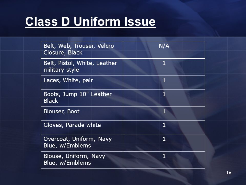 16 Class D Uniform Issue Belt, Web, Trouser, Velcro Closure, Black N/A Belt, Pistol, White, Leather military style 1 Laces, White, pair1 Boots, Jump 10 Leather Black 1 Blouser, Boot1 Gloves, Parade white1 Overcoat, Uniform, Navy Blue, w/Emblems 1 Blouse, Uniform, Navy Blue, w/Emblems 1