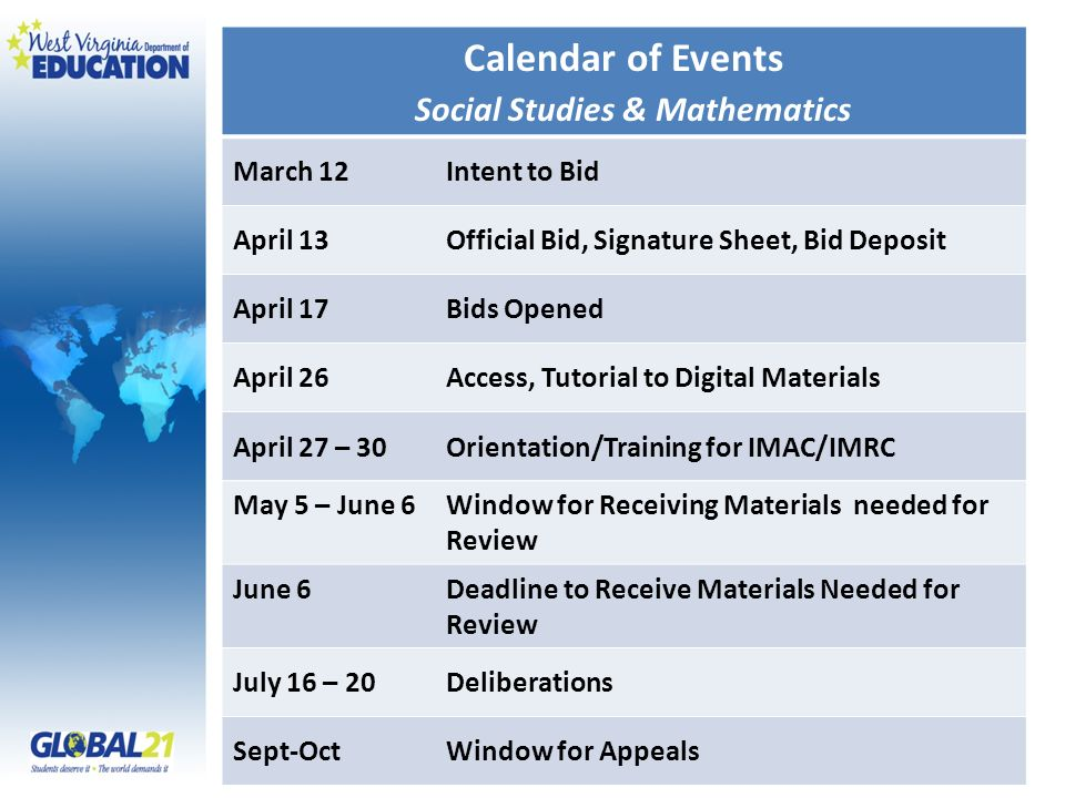 Calendar of Events Social Studies & Mathematics March 12Intent to Bid April 13 Official Bid, Signature Sheet, Bid Deposit April 17Bids Opened April 26Access, Tutorial to Digital Materials April 27 – 30Orientation/Training for IMAC/IMRC May 5 – June 6Window for Receiving Materials needed for Review June 6Deadline to Receive Materials Needed for Review July 16 – 20Deliberations Sept-Oct Window for Appeals