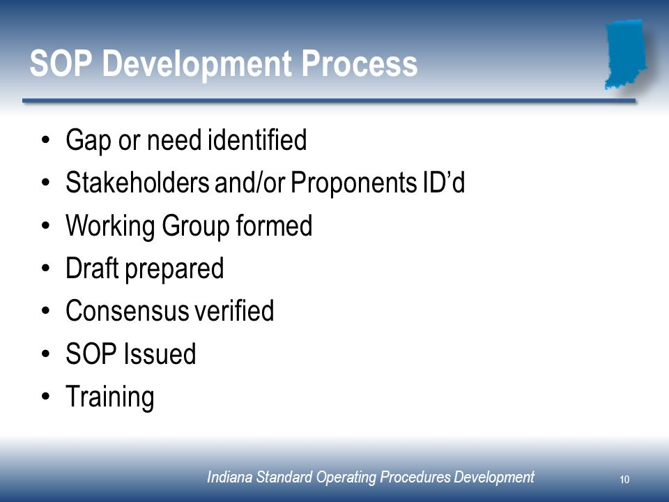 Indiana Standard Operating Procedures Development SOP Development Process Gap or need identified Stakeholders and/or Proponents IDd Working Group form