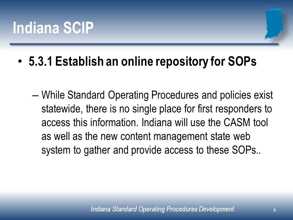 Indiana Standard Operating Procedures Development Indiana SCIP 5.3.1 Establish an online repository for SOPs – While Standard Operating Procedures and