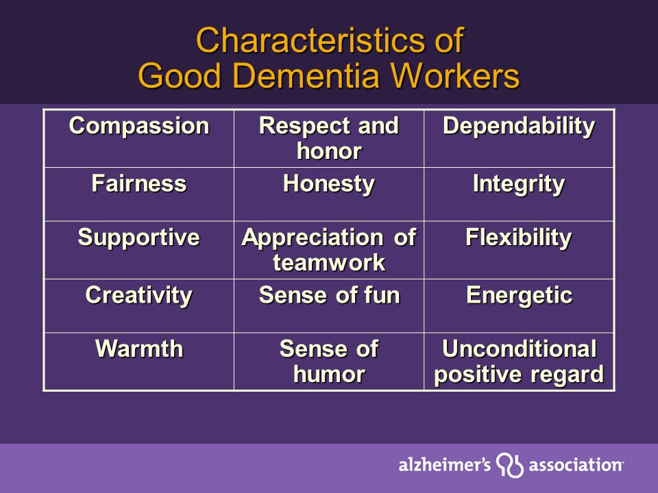 Characteristics of Good Dementia Workers Compassion Respect and honor Dependability FairnessHonestyIntegrity Supportive Appreciation of teamwork Flexibility Creativity Sense of fun Energetic Warmth Sense of humor Unconditional positive regard