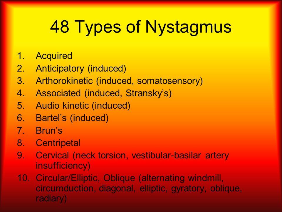 48 Types of Nystagmus 1.Acquired 2.Anticipatory (induced) 3.Arthorokinetic (induced, somatosensory) 4.Associated (induced, Stranskys) 5.Audio kinetic