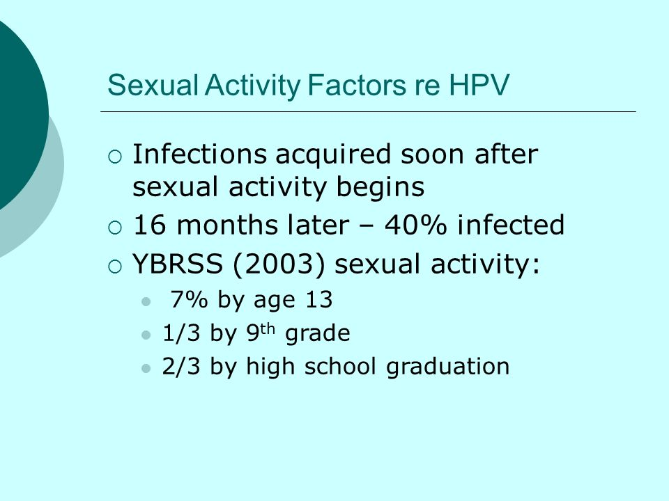 Sexual Activity Factors re HPV Infections acquired soon after sexual activity begins 16 months later – 40% infected YBRSS (2003) sexual activity: 7% b