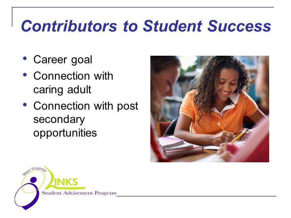 Contributors to Student Success Career goal Connection with caring adult Connection with post secondary opportunities