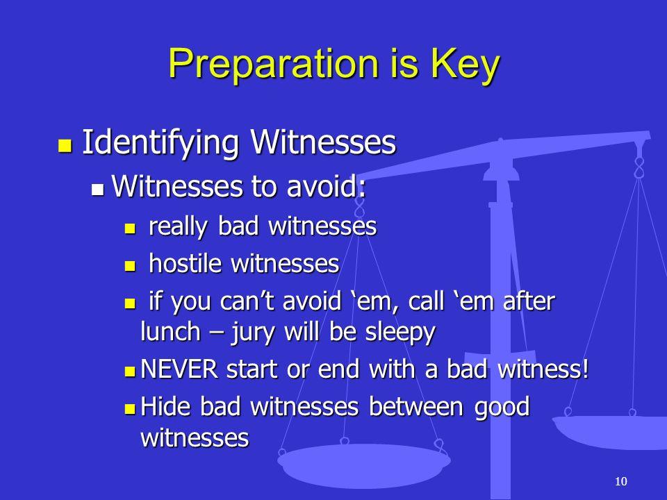 10 Preparation is Key Identifying Witnesses Identifying Witnesses Witnesses to avoid: Witnesses to avoid: really bad witnesses really bad witnesses ho