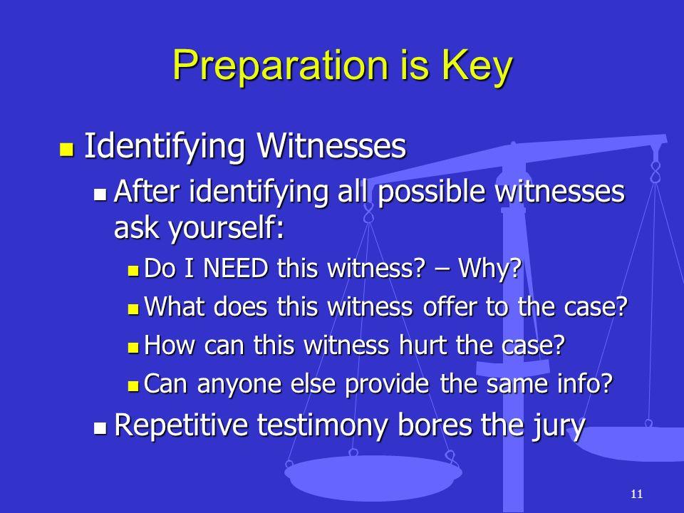 11 Preparation is Key Identifying Witnesses Identifying Witnesses After identifying all possible witnesses ask yourself: After identifying all possibl