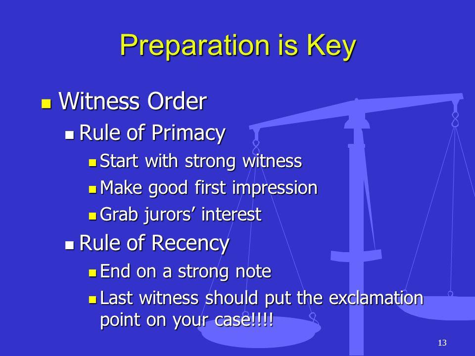 13 Preparation is Key Witness Order Witness Order Rule of Primacy Rule of Primacy Start with strong witness Start with strong witness Make good first