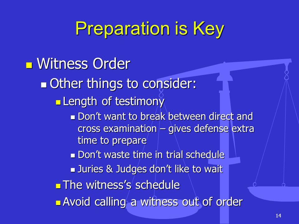 14 Preparation is Key Witness Order Witness Order Other things to consider: Other things to consider: Length of testimony Length of testimony Dont wan