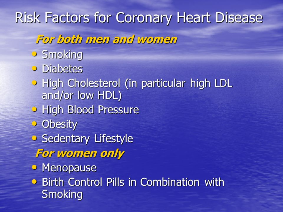 For both men and women For both men and women Smoking Smoking Diabetes Diabetes High Cholesterol (in particular high LDL and/or low HDL) High Choleste