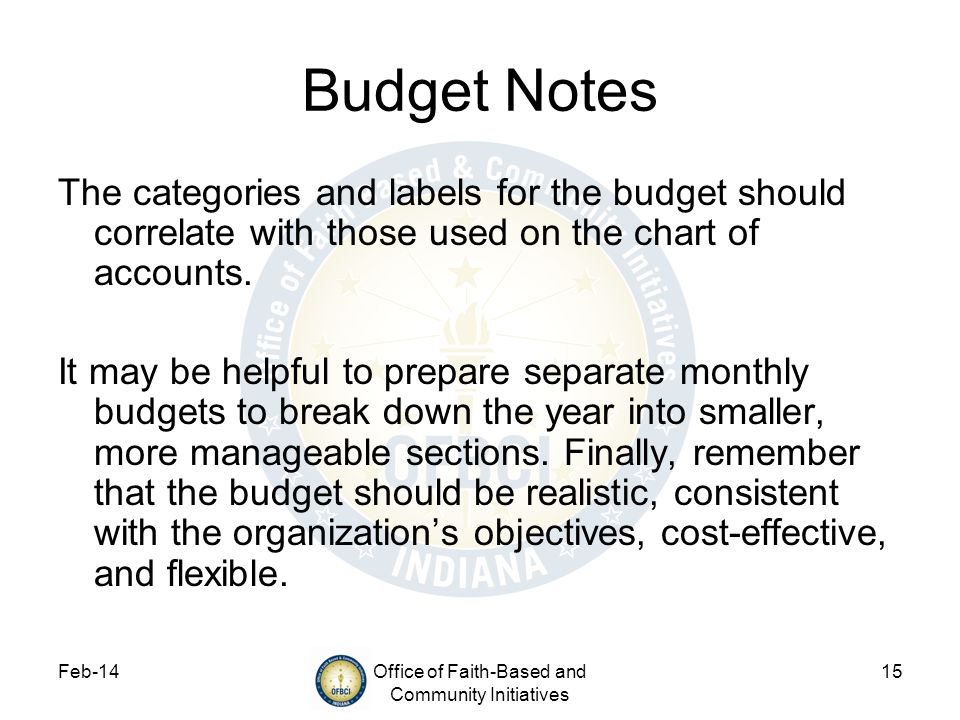 Feb-14Office of Faith-Based and Community Initiatives 15 Budget Notes The categories and labels for the budget should correlate with those used on the