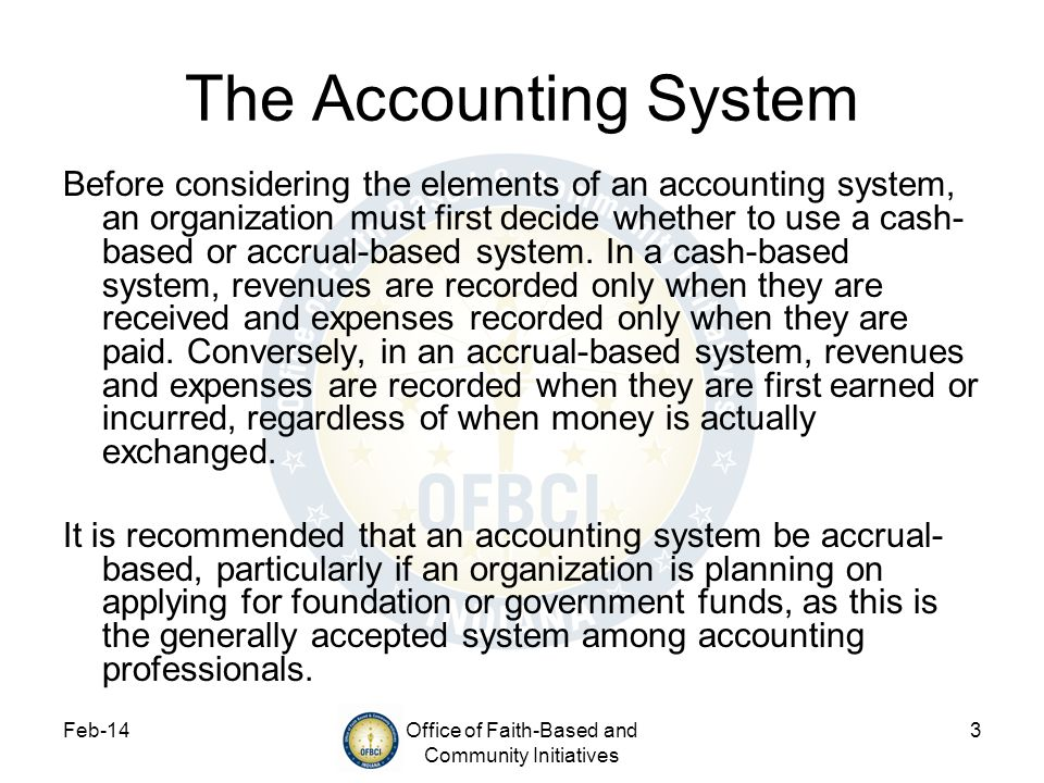 Feb-14Office of Faith-Based and Community Initiatives 3 The Accounting System Before considering the elements of an accounting system, an organization