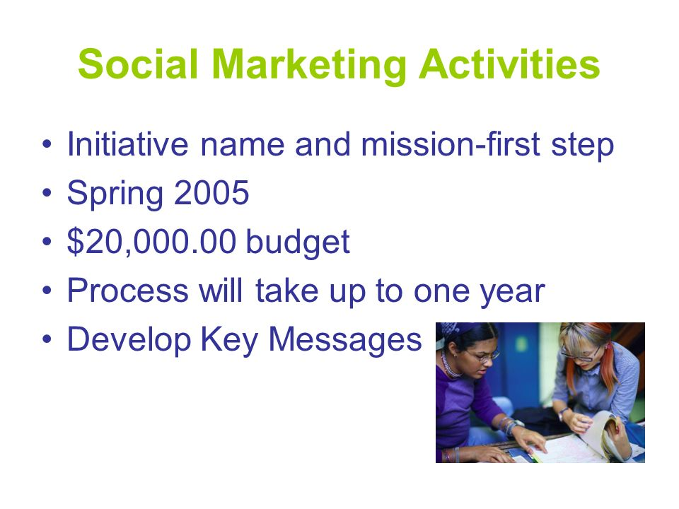 Social Marketing Activities Initiative name and mission-first step Spring 2005 $20,000.00 budget Process will take up to one year Develop Key Messages