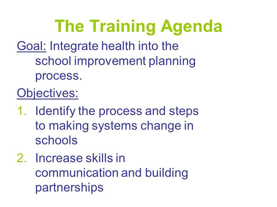 The Training Agenda Goal: Integrate health into the school improvement planning process.