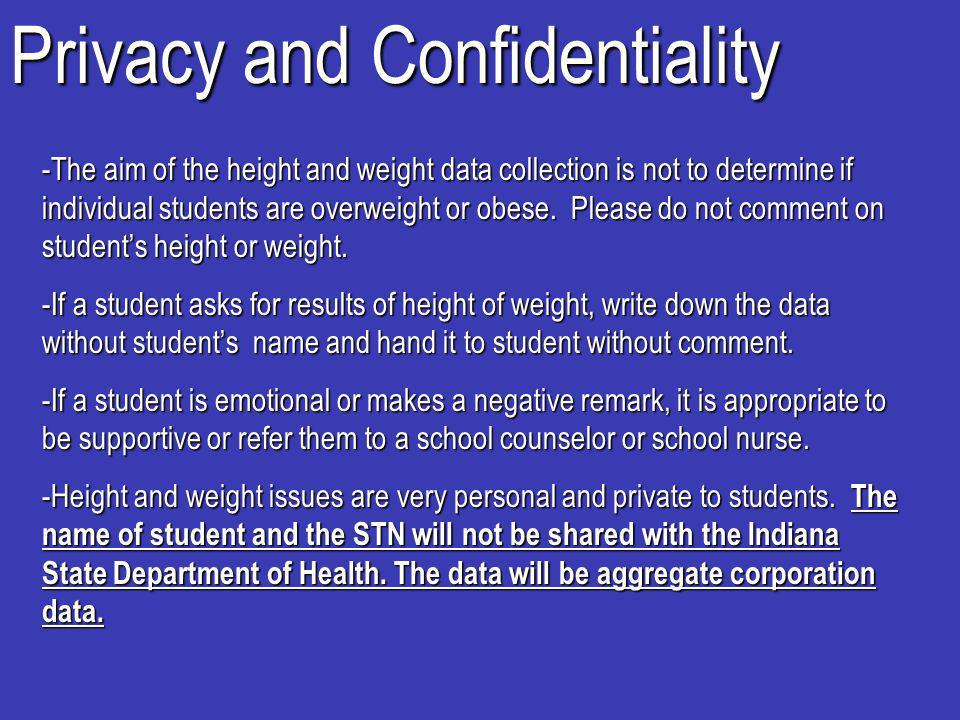 Privacy and Confidentiality -The aim of the height and weight data collection is not to determine if individual students are overweight or obese.