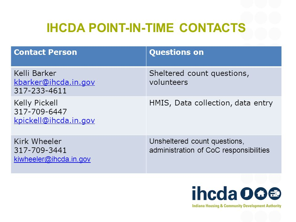 IHCDA POINT-IN-TIME CONTACTS Contact PersonQuestions on Kelli Barker kbarker@ihcda.in.gov 317-233-4611 Sheltered count questions, volunteers Kelly Pickell 317-709-6447 kpickell@ihcda.in.gov HMIS, Data collection, data entry Kirk Wheeler 317-709-3441 kiwheeler@ihcda.in.gov Unsheltered count questions, administration of CoC responsibilities