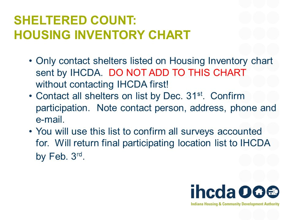SHELTERED COUNT: HOUSING INVENTORY CHART Only contact shelters listed on Housing Inventory chart sent by IHCDA.