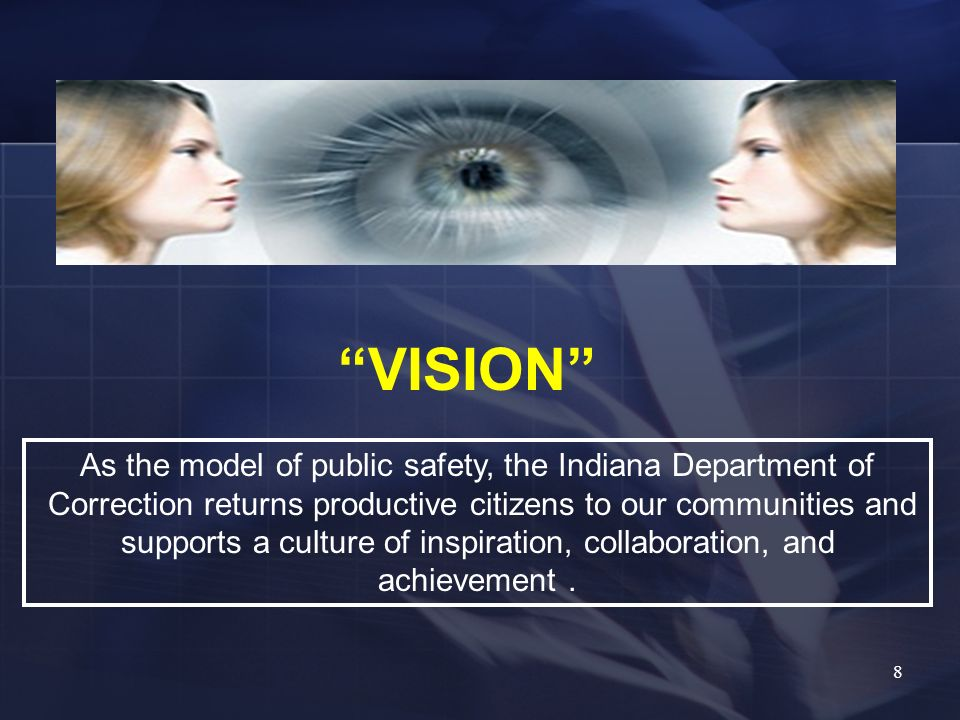VISION As the model of public safety, the Indiana Department of Correction returns productive citizens to our communities and supports a culture of in