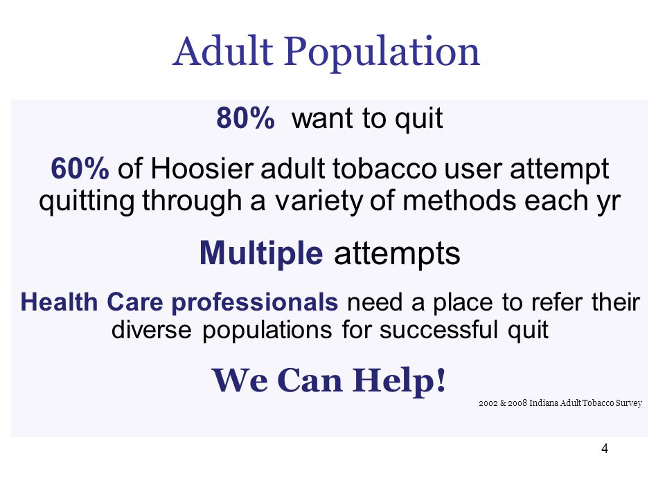 Adult Population 80% want to quit 60% of Hoosier adult tobacco user attempt quitting through a variety of methods each yr Multiple attempts Health Car
