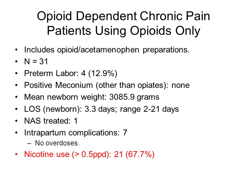 Opioid Dependent Chronic Pain Patients Using Opioids Only Includes opioid/acetamenophen preparations. N = 31 Preterm Labor: 4 (12.9%) Positive Meconiu