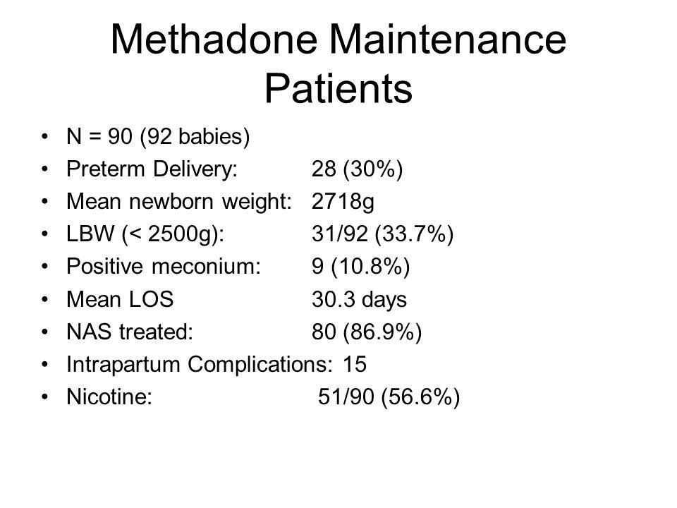 Methadone Maintenance Patients N = 90 (92 babies) Preterm Delivery: 28 (30%) Mean newborn weight: 2718g LBW (< 2500g):31/92 (33.7%) Positive meconium: