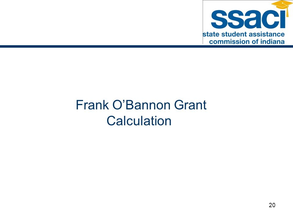 20 Frank OBannon Grant Calculation