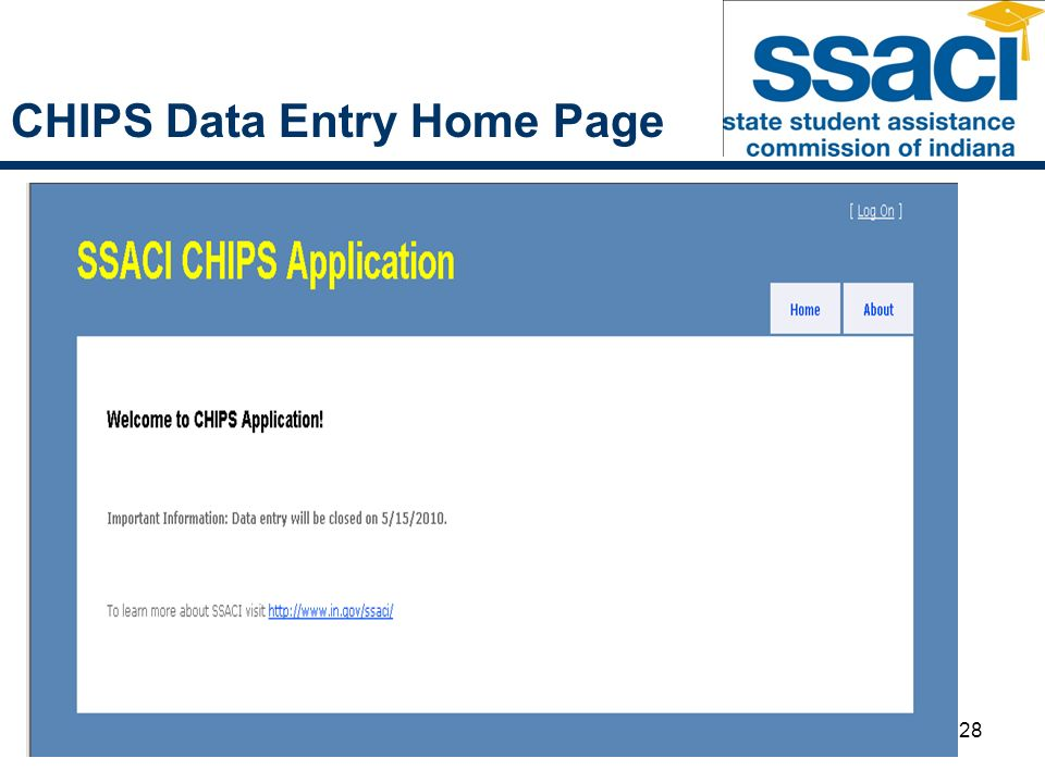 28 CHIPS Data Entry Home Page