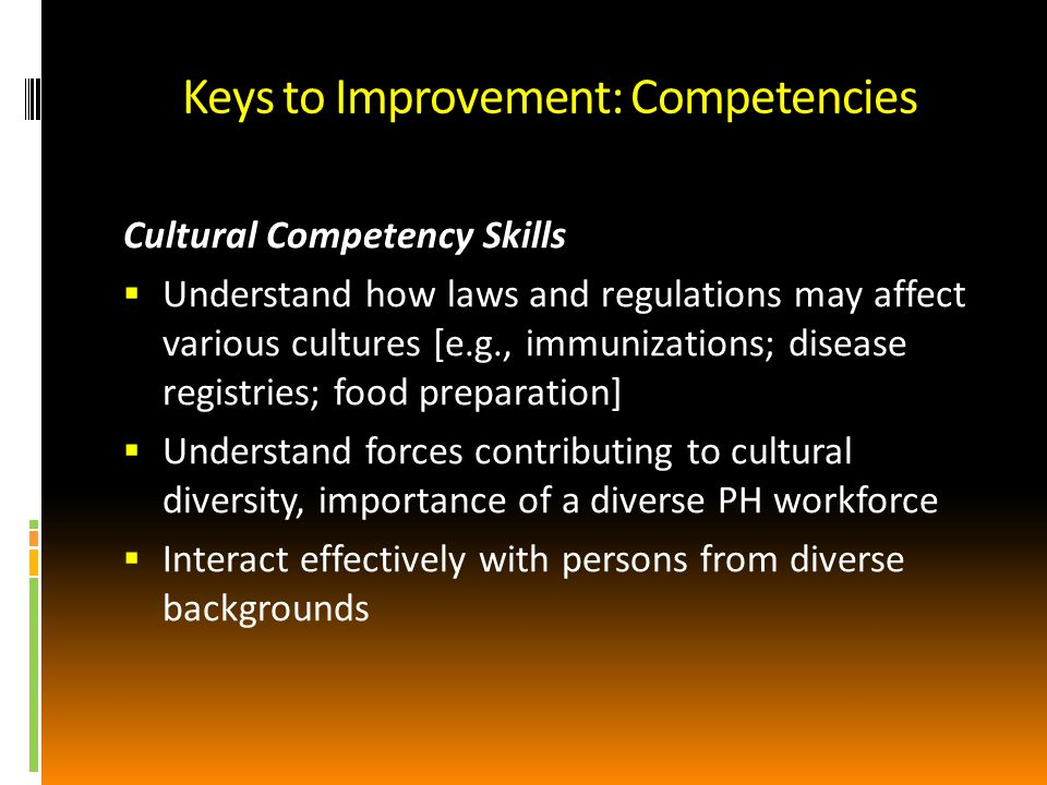 Keys to Improvement: Competencies Cultural Competency Skills Understand how laws and regulations may affect various cultures [e.g., immunizations; disease registries; food preparation] Understand forces contributing to cultural diversity, importance of a diverse PH workforce Interact effectively with persons from diverse backgrounds