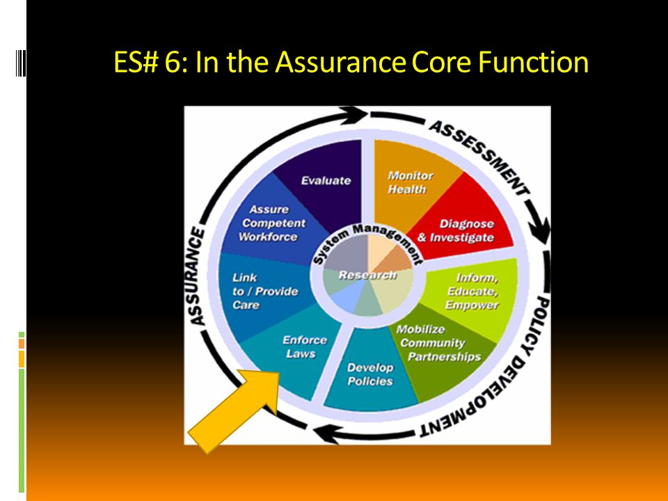 Examples of ES #6 Communicable disease statute and regulations Food protection laws, inspection processes Hospital/long term care statute & regulations Housing codes, e.g., Lead Poisoning Prevention; Radon; septic systems Indiana Code Title 16-Health More examples?
