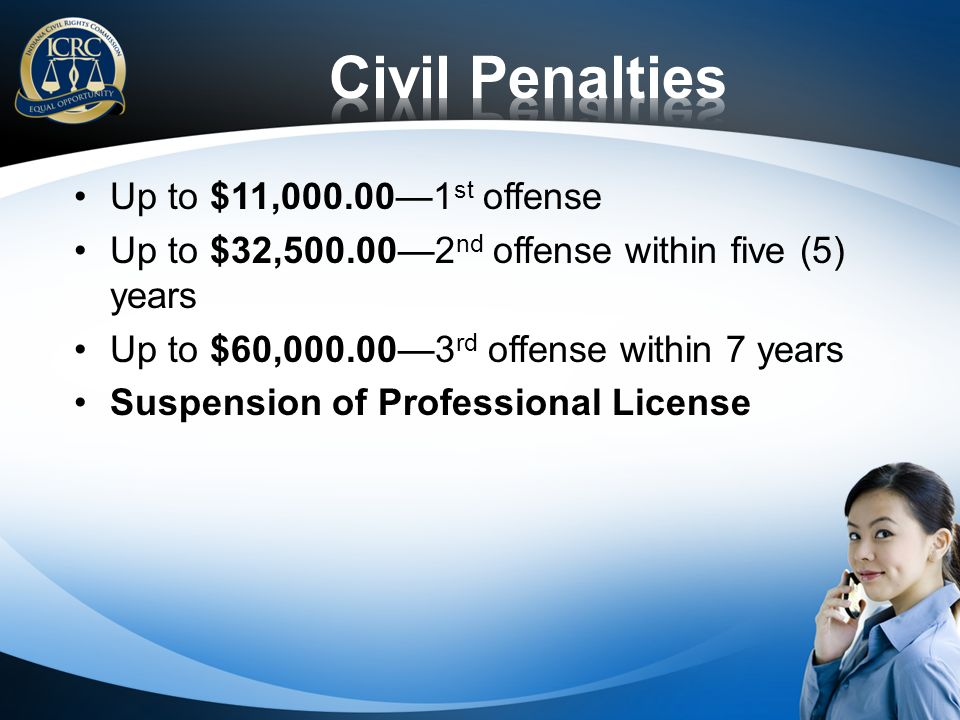 Up to $11,000.001 st offense Up to $32,500.002 nd offense within five (5) years Up to $60,000.003 rd offense within 7 years Suspension of Professional License