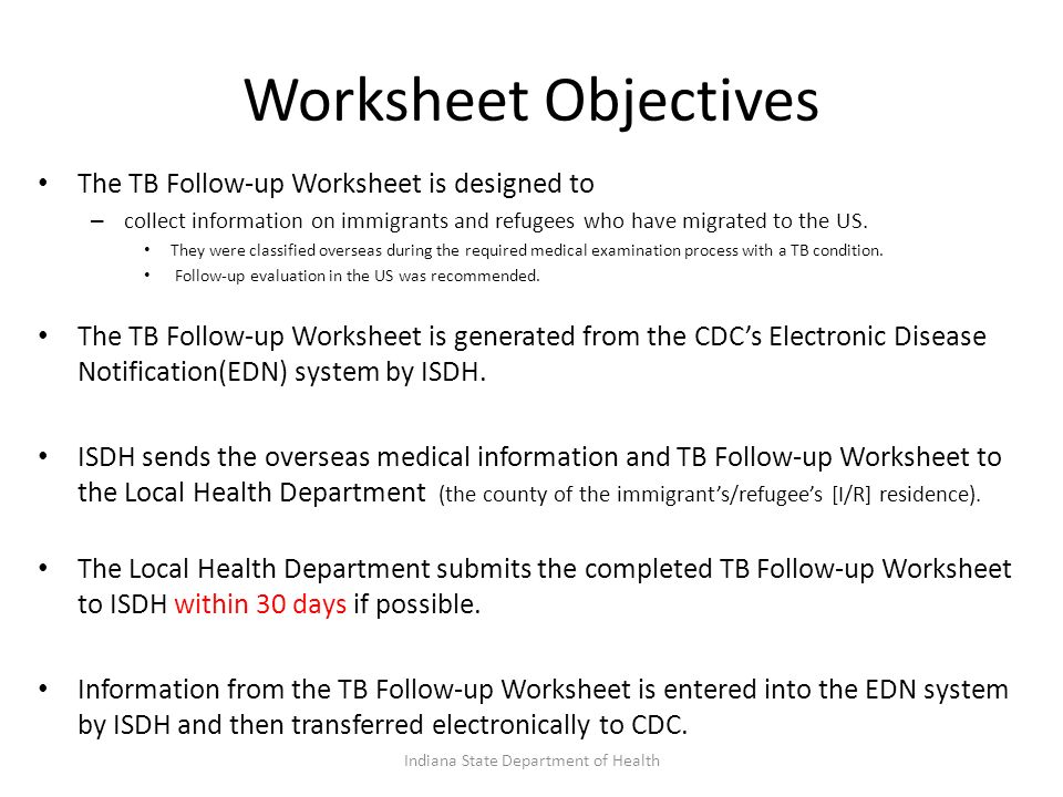 Worksheet Objectives The TB Follow-up Worksheet is designed to – collect information on immigrants and refugees who have migrated to the US.