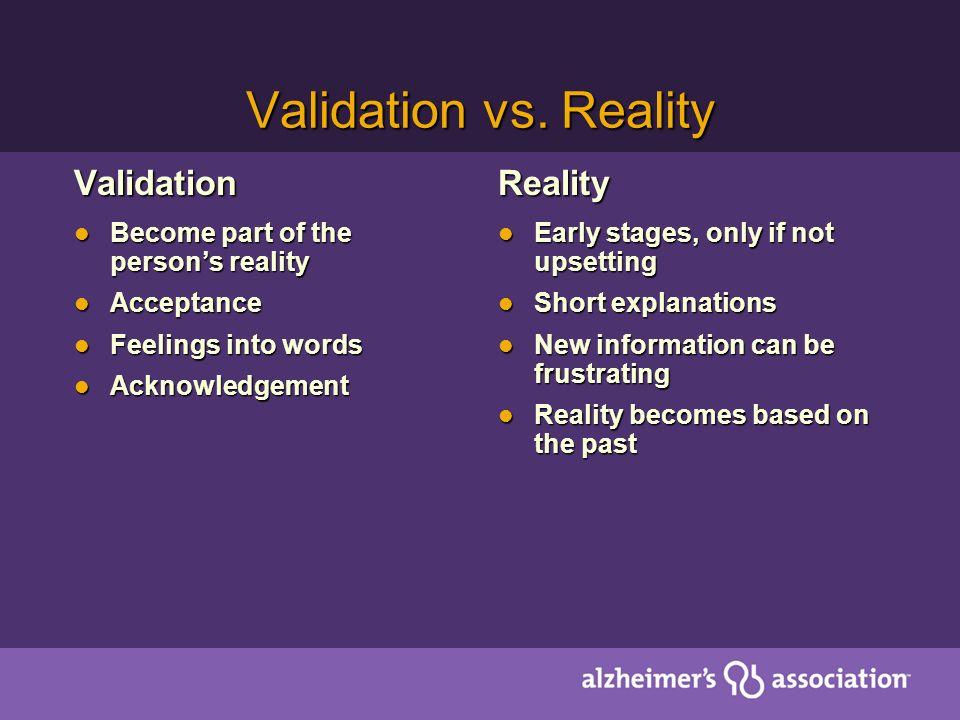 Validation vs.