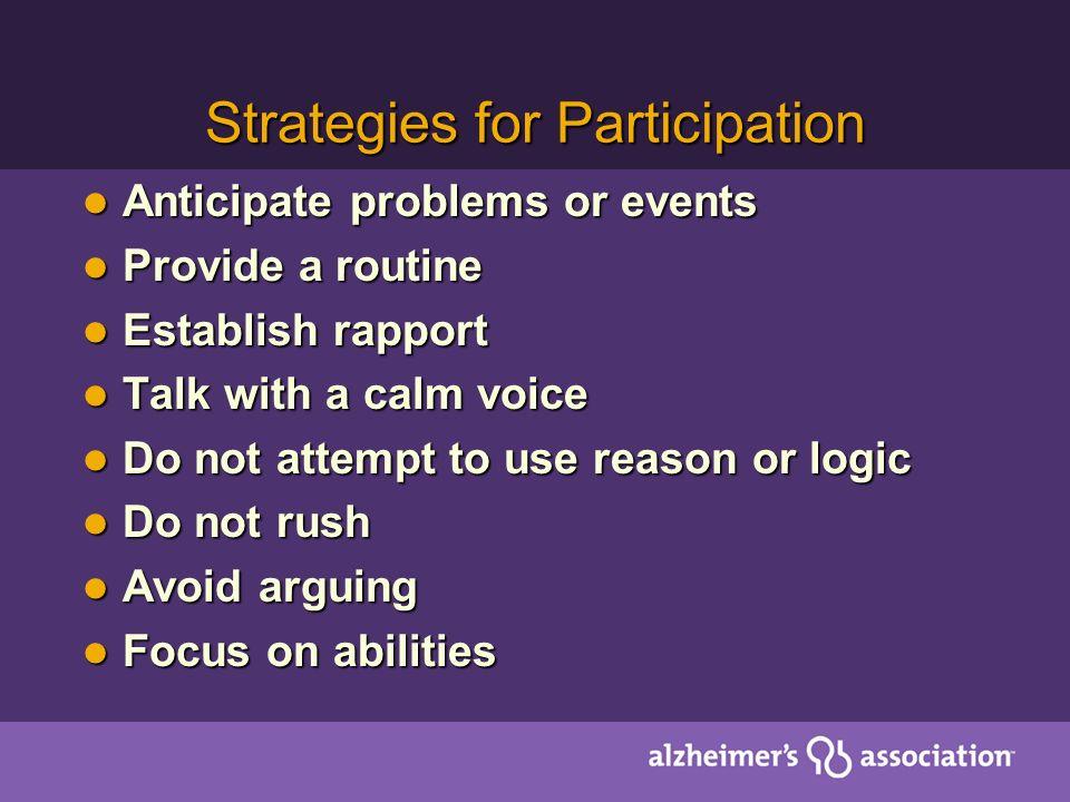 Strategies for Participation Anticipate problems or events Anticipate problems or events Provide a routine Provide a routine Establish rapport Establi