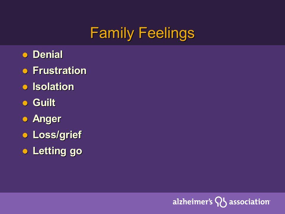 Family Feelings Denial Denial Frustration Frustration Isolation Isolation Guilt Guilt Anger Anger Loss/grief Loss/grief Letting go Letting go