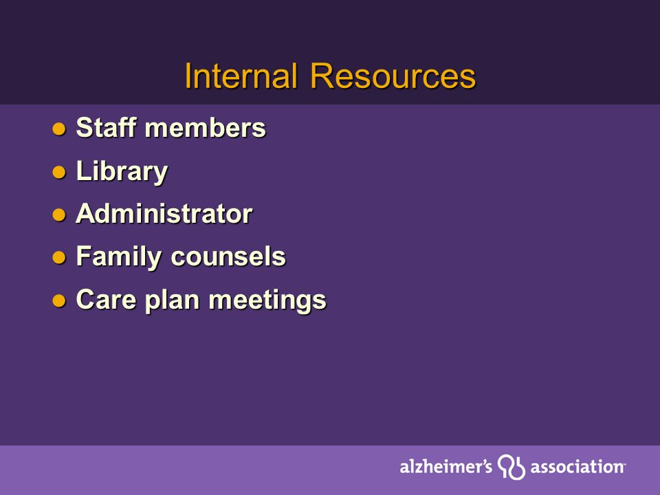 Internal Resources Staff members Staff members Library Library Administrator Administrator Family counsels Family counsels Care plan meetings Care pla