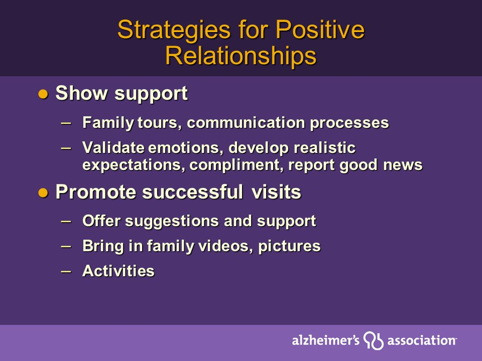 Strategies for Positive Relationships Show support Show support – Family tours, communication processes – Validate emotions, develop realistic expecta