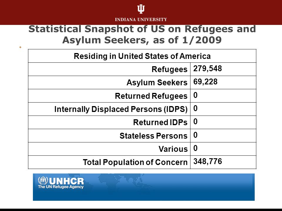 Statistical Snapshot of US on Refugees and Asylum Seekers, as of 1/2009 Residing in United States of America Refugees 279,548 Asylum Seekers 69,228 Returned Refugees 0 Internally Displaced Persons (IDPS) 0 Returned IDPs 0 Stateless Persons 0 Various 0 Total Population of Concern 348,776