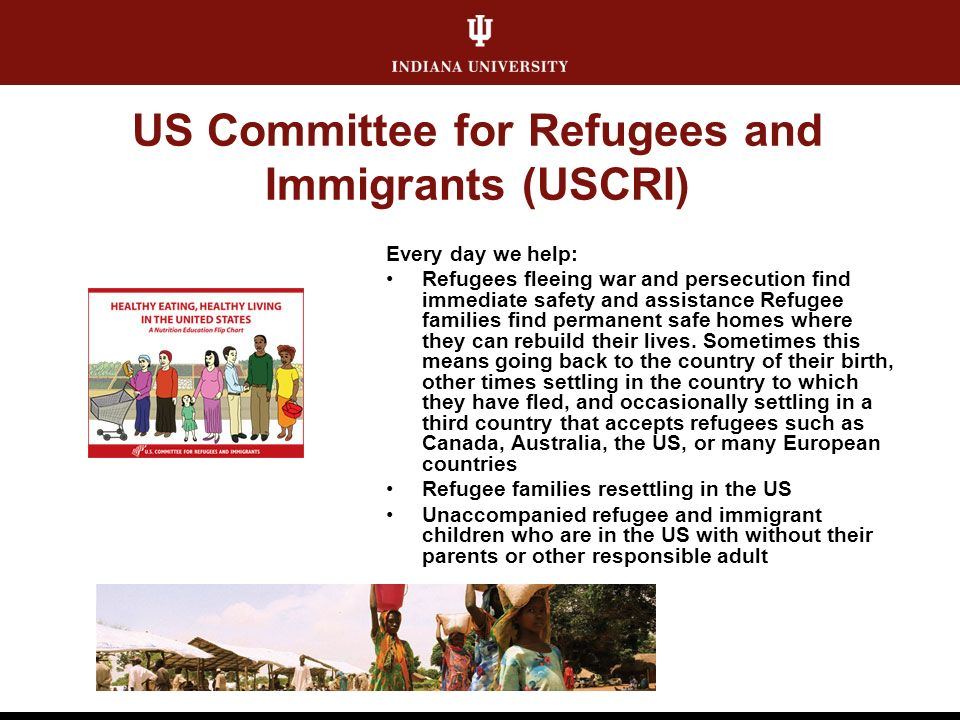 US Committee for Refugees and Immigrants (USCRI) Every day we help: Refugees fleeing war and persecution find immediate safety and assistance Refugee families find permanent safe homes where they can rebuild their lives.