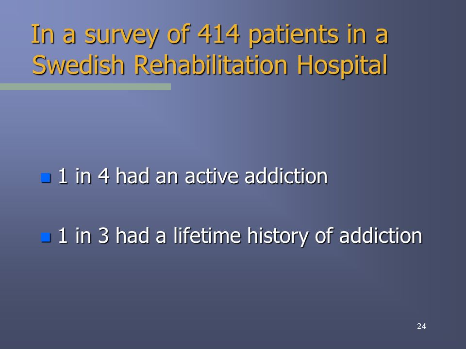 24 In a survey of 414 patients in a Swedish Rehabilitation Hospital n 1 in 4 had an active addiction n 1 in 3 had a lifetime history of addiction