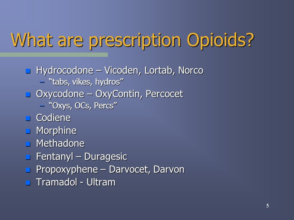 6 Potential problems with long-term use of Opioids: n Addiction n Tolerance n Hyperalgesia (abnormal pain sensitivity) n Hormonal side effects (decreases testosterone levels, decreases sex drive and irregular menses) n Suppression of the immune system n Depression n Interference with endorphin system