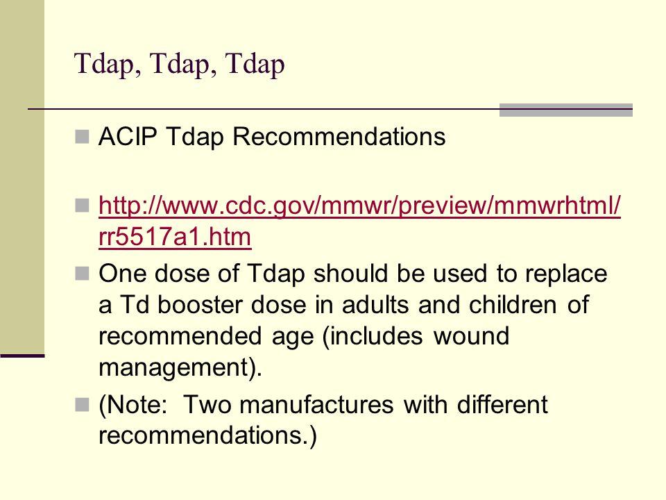 Tdap, Tdap, Tdap ACIP Tdap Recommendations http://www.cdc.gov/mmwr/preview/mmwrhtml/ rr5517a1.htm http://www.cdc.gov/mmwr/preview/mmwrhtml/ rr5517a1.h