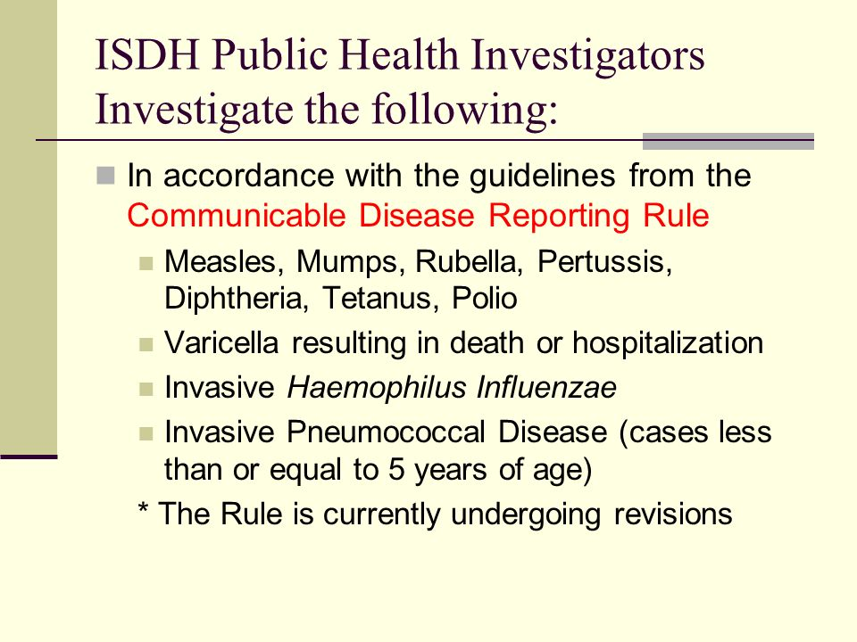 Communication A trained immunization field representative of the department in cooperation with the local health officer Contacting your immunization programs public health investigators: Phone: see map (handout) E-mail Contacting the field staff supervisor: Sarah Murphy: 317-233-7603 smurphy@isdh.in.gov