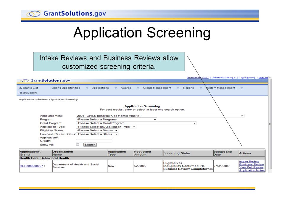 Application Screening Intake Reviews and Business Reviews allow customized screening criteria.
