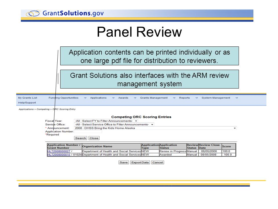 Panel Review Application contents can be printed individually or as one large pdf file for distribution to reviewers.