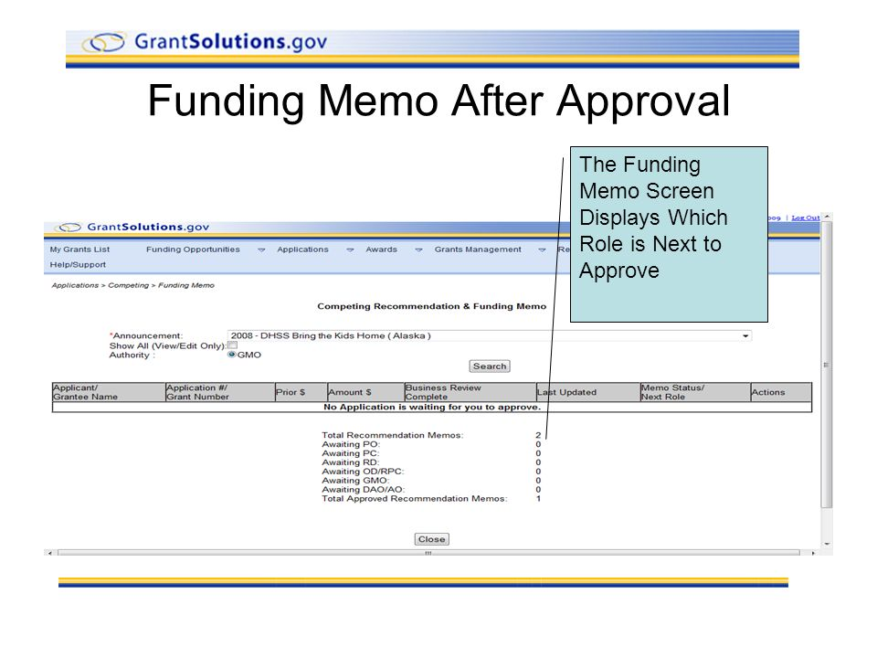 Funding Memo After Approval The Funding Memo Screen Displays Which Role is Next to Approve