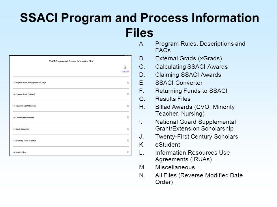 SSACI Program and Process Information Files A.Program Rules, Descriptions and FAQs B.External Grads (xGrads) C.Calculating SSACI Awards D.Claiming SSA