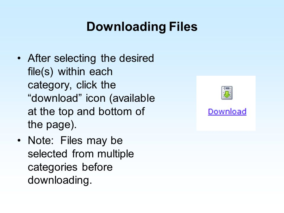 Downloading Files After selecting the desired file(s) within each category, click the download icon (available at the top and bottom of the page). Not