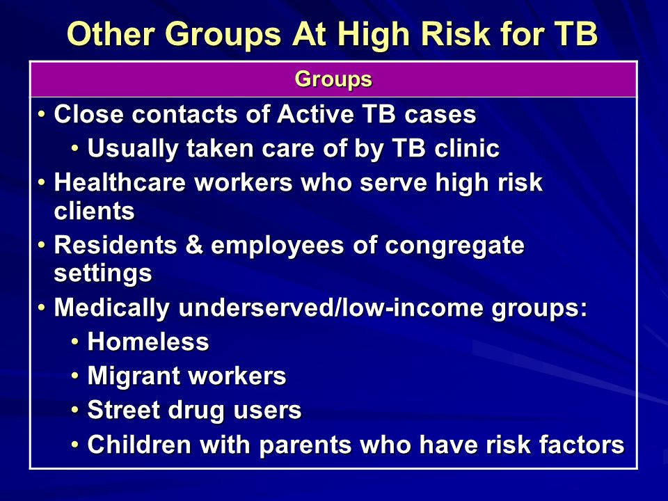 Other Groups At High Risk for TB Groups Close contacts of Active TB casesClose contacts of Active TB cases Usually taken care of by TB clinicUsually t