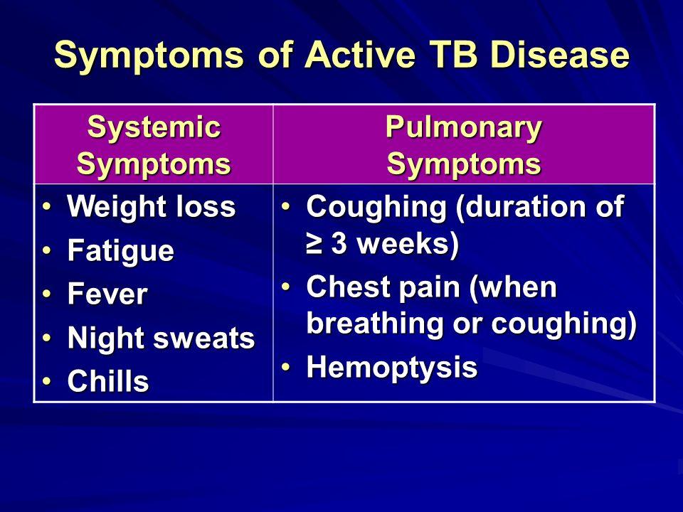 Symptoms of Active TB Disease Systemic Symptoms Pulmonary Symptoms Weight lossWeight loss FatigueFatigue FeverFever Night sweatsNight sweats ChillsChi