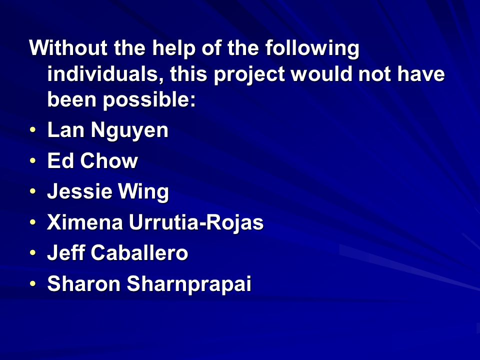 Without the help of the following individuals, this project would not have been possible: Lan NguyenLan Nguyen Ed ChowEd Chow Jessie WingJessie Wing X