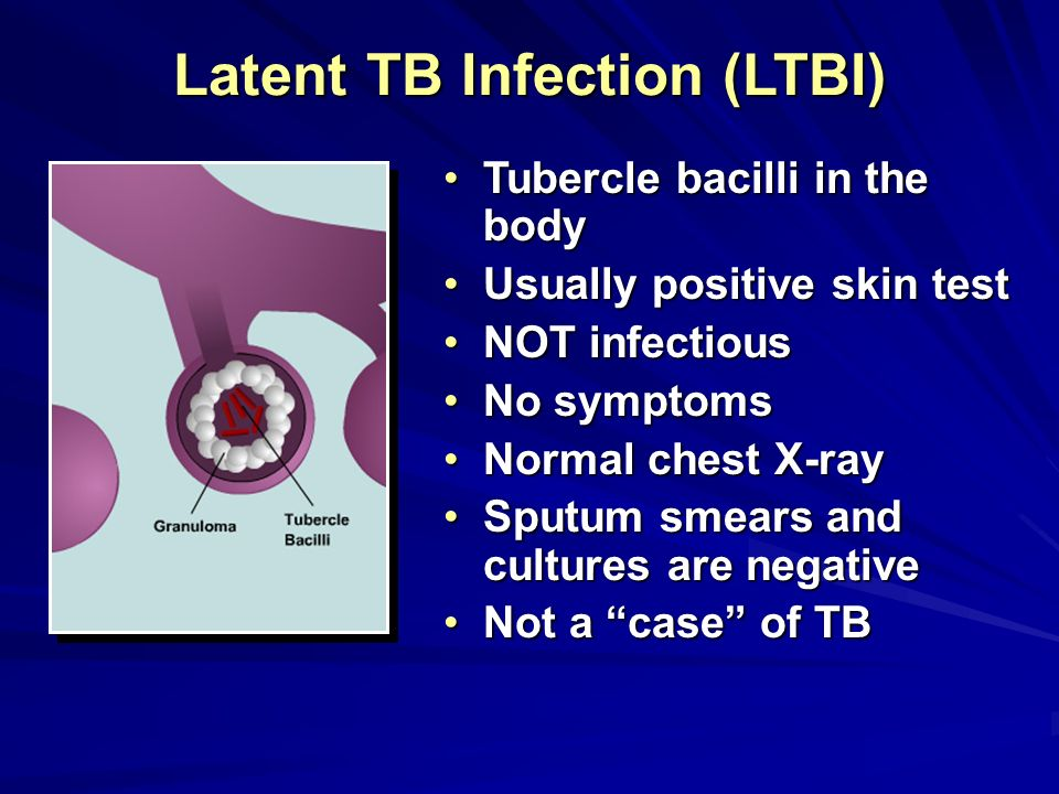 Flow Chart for Latent TB Infection (LTBI) in Primary Care Patient with risk factors for LTBI Negative No treatment; Document status in medical record Candidate for LTBI Treatment Treatment of active TB by TB clinic Refer to TB clinic for evaluation of active TB Abnormal Positive Negative Positive Normal TST (PPD ) History/HIV risk, physical exam, chest x-ray Note: Evaluate patient for LTBI testing and treatment regardless of BCG status Rule out active TB disease before treatment for LTBI is started